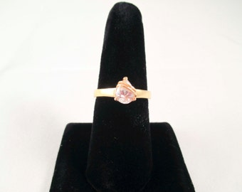 Gold Ring with Large faux Diamond Stone SIze 9 tear drop