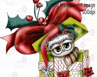 Twiggy & Toots Gift van Kerstmis zwarte en witte digitale stempel