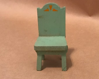 Miniature Wooden Green Chair