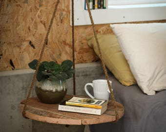 Hanging Nightstand made from reclaimed wood - Round Side Table