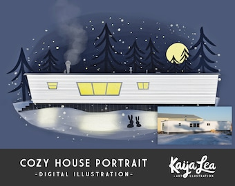 Custom House Portrait | Cozy Home Illustration | Closing Gift Realtor | Housewarming Gift | First House Custom Art | Paper Anniversary Gift