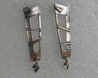 Geometric Mixed Metal Post Earrings Triangle Drop