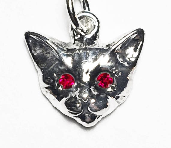 Sterling Silver Kitty Cat Charm with Ruby or Pink Sapphire Eyes