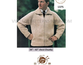 """Mans 1960s, zipped, raglan cardigan, windcheater jacket with collar - knits as chunky - 34"""" - 42"""" chest - Vintage PDF Knitting Pattern 1375"""