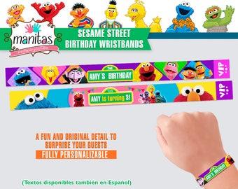 40 pack Sesame Street Birthday Wristbands - Custom Wristbands - Personalized Wristbands - Sesame Street Favors - Sesame Street