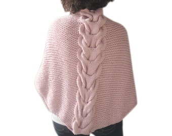 Pink Shawl With Cable Knit by Afra