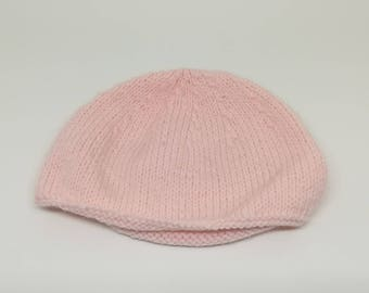Pink baby beanie / / baby knit hat