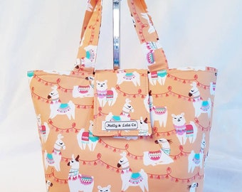 Llama Tote Bag / Mothers Day Gift / Insulated Lunch Bag / Reusable Lunch Bag / Insulated Lunch Tote / Llamas / Gifts for Mum / Handmade Tote