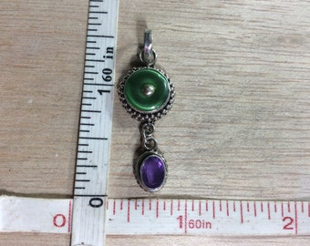 Vintage 925 Sterling Silver 3.4g Amethyst Green Glass Pendant Used