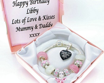 Ladies Girls Pink & White Charm Bracelet ENGRAVED With ANY MESSAGE Birthday Chritmas Gift Personalised Box