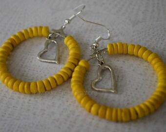 Yellow Wood Hoop Earrings with Heart Dangle (201811E)