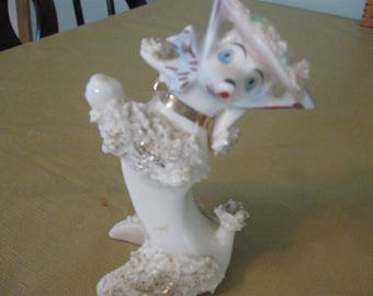white antique pampered poodle figurine