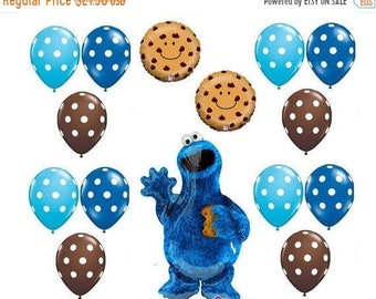 ON SALE 15 peice Sesame Street Cookie Monster Balloons birthday party supplies shower