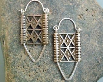 Sterling Silver-Tibetian Silver-Tribal-Earrings / Free US Shipping