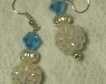 "Cynthia Lynn ""ASPEN"" White AB Disco Ball & Blue Crystal Silver Beaded Earrings"
