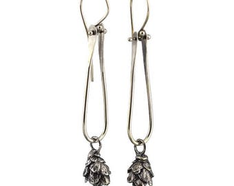 Sterling Silver Hinged Hemlock Pine Cone Dangle Earrings