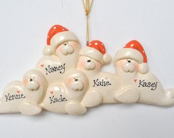 RETIRING DESIGN..Personalized Christmas Seal Family of 5 Ornament/Seals/Family Ornament