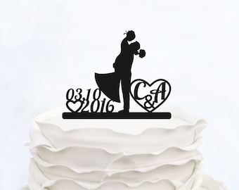 Wedding CAKE TOPPER silhouette with Initials_Custom Cake topper with date_Custom cake topper_Personalized cake topper_Bride & groom