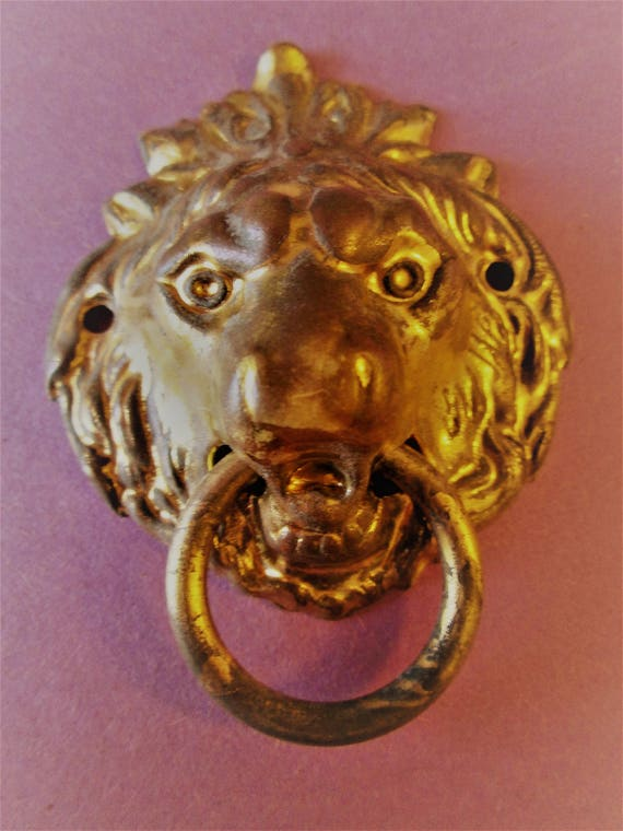 """Nice Vintage 2 1/2"""" Wide Pressed Solid Brass Lion's Head Furniture / Clock Case Ornament for your Projects - Steampunk Art -"""
