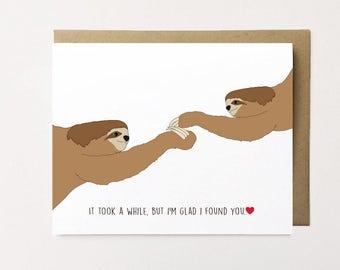 Sloth card, Sloth Anniversary Card, Cute Anniversary Card, Sloth Love Card, Card for husband, I Love You Card, Cute Valentine's day card