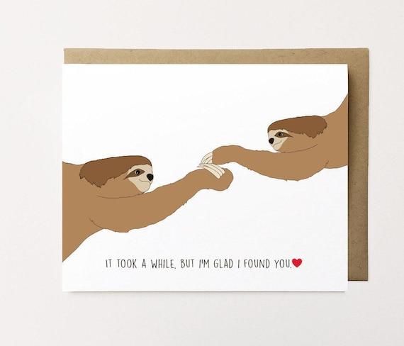 Sloth card Sloth Anniversary Card Cute Anniversary Card
