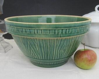 "Primitive Antique Yellowware Mixing Bowl Green Glaze Embossed Wood Grain Barrel 10-3/4"" Stoneware Farmhouse Decor"
