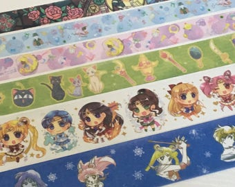 SAMPLE: 6 Designs of Lovely  Sailor Moon theme Limited Edition Washi Tape (1m each)