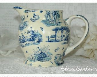 Arthur Wood, England: Off white and blue toile pitcher/ jug