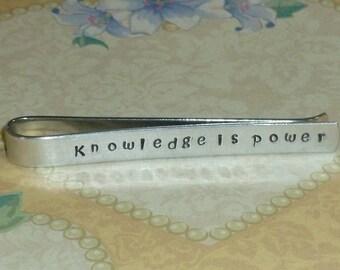 Teacher Gift - Knowledge is Power Mens Hand Stamped Aluminum Tie Bar Tie Clip - Teacher Tie Bar - Teacher Mens Gift - Teacher Tie Clip