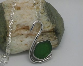 Sea glass necklace, Green Sea glass necklace, Sea glass jewellery, Sea glass jewelry, Cornish sea glass gift, Bridesmaid or Birthday gift.