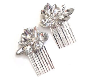 Comb Set - Small Silver Crystal Hair Combs (Set of 2) - Vintage Style - Silver Metal Comb - Clear Rhinestone Crystals Comb Hairpiece