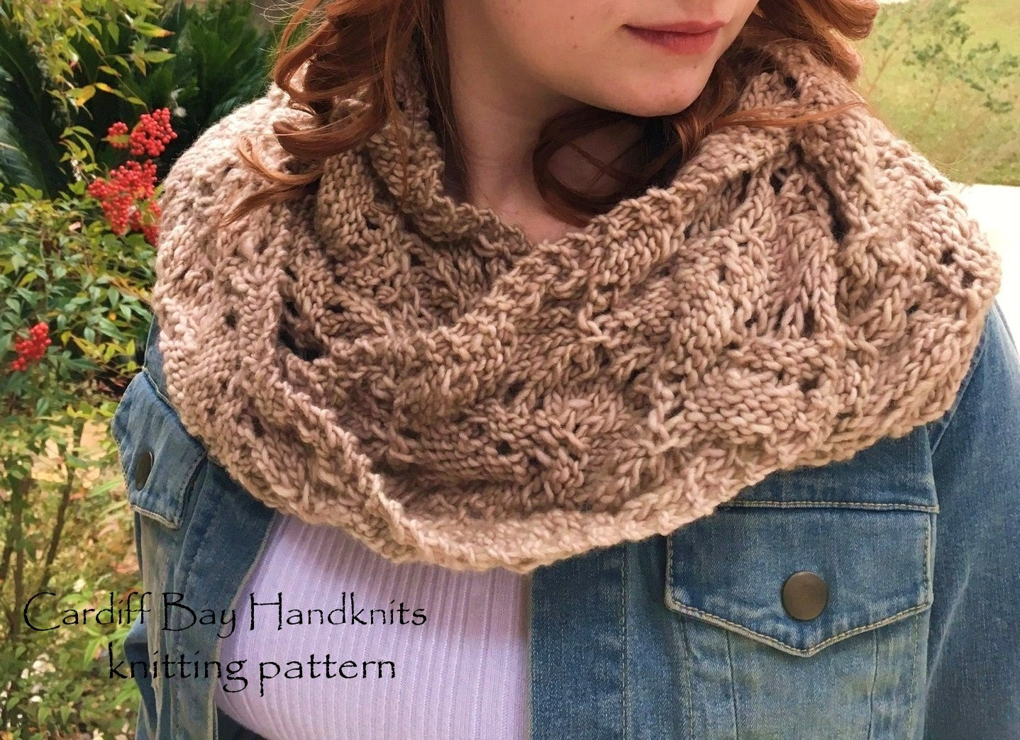 KNITTING PATTERN,infinity cowl,knit infinity scarf,knit lace cowl ...