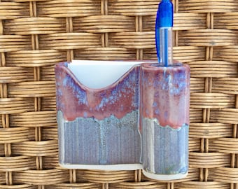 Handmade Ceramic Pottery Desk Note Holder - Office Storage - Blue, Purple Glaze
