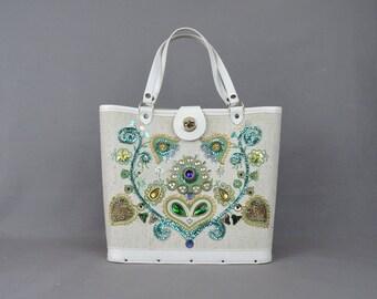 Vintage Jewel Tone Floral Purse Handbag, 1960s Decorated Sequins & Cabochons Gems, Enid Collins Style