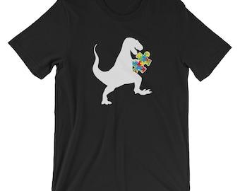 Autism Au Saurus Heart Puzzle Love Autism Awareness Shirt | Short-Sleeve Unisex T-Shirt | Autism Awareness | Autism Shirt