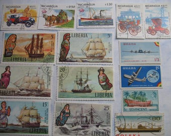 TRANSPORTATION Cars Ships Planes Boats -  Vintage Used Worldwide Postage Stamps various ages  -  (B94)