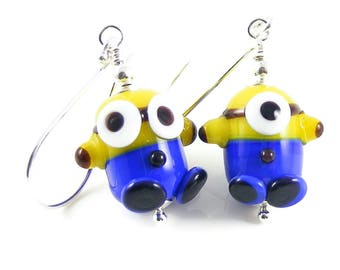 Fun Earrings, Handcrafted Lampwork Glass & Sterling Silver Jewellery, Inspired by Minions, Despicable Me, Ideal Gift