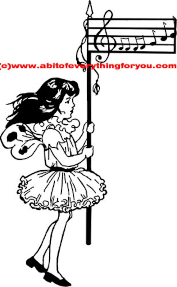 fairy girl musical note staff flag clipart png Digital Download printable art Image graphics digital stamp black and white artwork