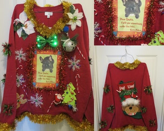 Happy Howl-A-Days Darling French Bulldog Tacky Ugly Christmas Sweater Garland Light Up Bells Hysterical Mens sz XXL, Present Under the Tree