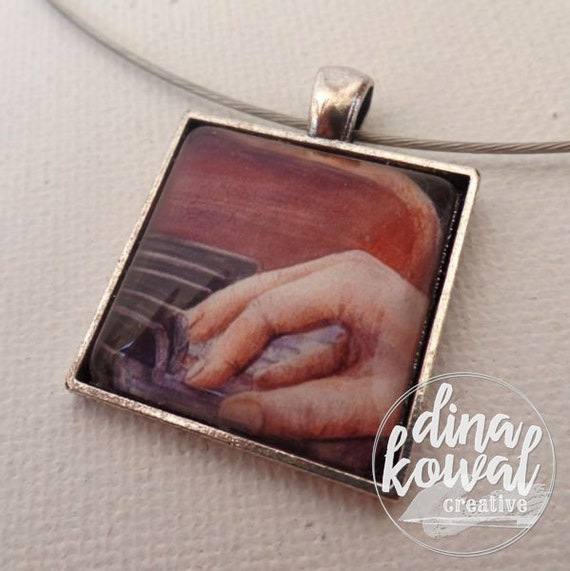 Free - piano pianist music worship - domed glass tile pendant necklace