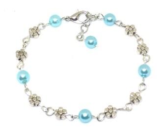 Daisy & Blue Pearl Link Bracelet