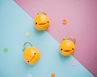 Happy Yellow Pineapple Keychain - Pineapple Charm Keychain - Smiling Pineapple Planner Charm - Polymerclay Charm