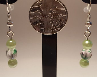 Light Green and Crystal Bead Shepherd Hook Earrings