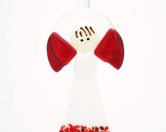 Glassworks Northwest - Angel with White Dress  - Fused Glass Ornament