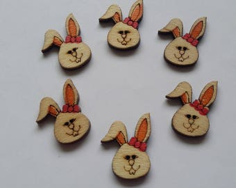 orange color 6 painted wooden Bunny buttons