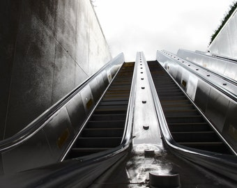 Metro escalator in the morning, Washington, DC, Smithsonian