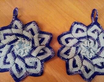 Set of 2 blue Potholders. Potholder blue star. Flower potholders. Kitchen decor. Crochet potholder.