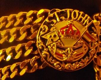 Vintage 1980's Four Strand Gold Chain St. John Belt