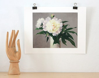 Archival Giclee Print of Peonies in a White Vase
