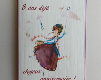 Greeting card. Nice and original birthday girl card. HAND MADE